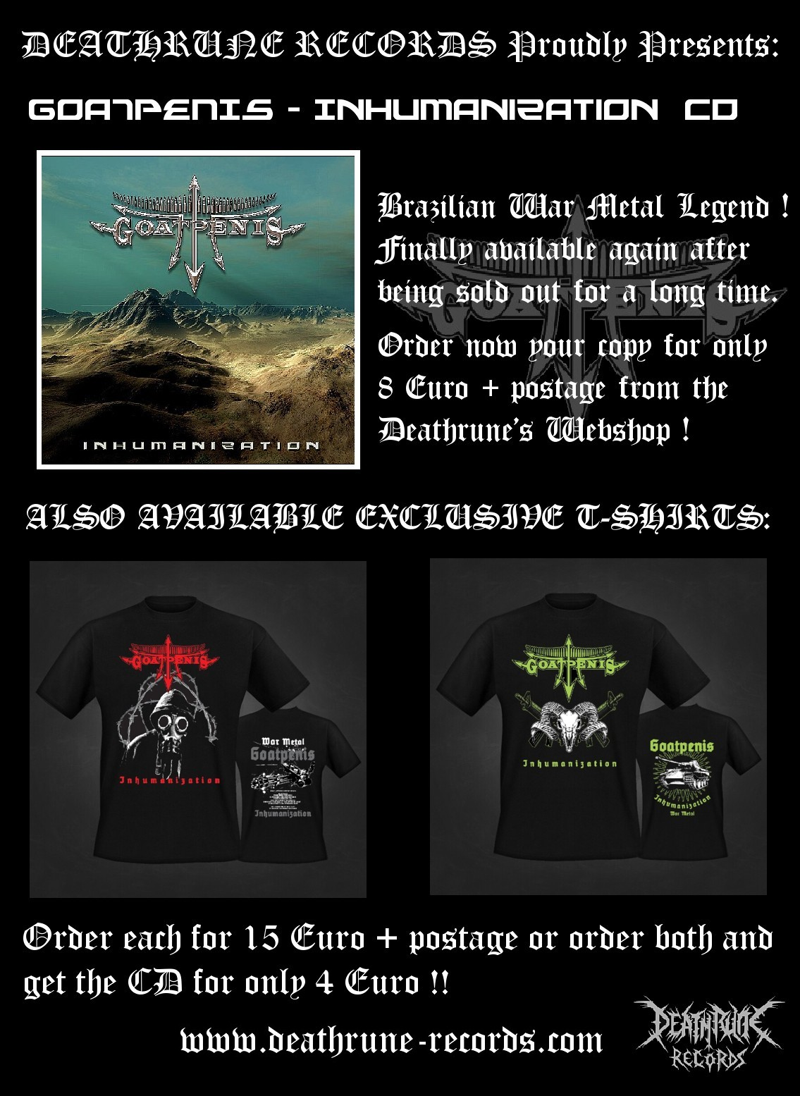 Goatpenis advert cd t-shirts